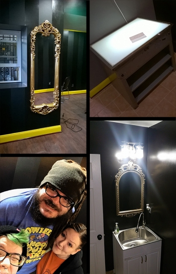 Fancy mirrors, new sink & light fixture, big old light table, goofy faces