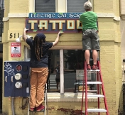 Hanging the sign